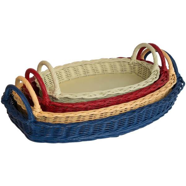 Set of 4 Wicker nesting trays in multiple colors