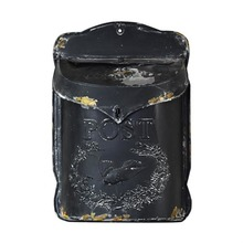 Old Tin Post Box - Black