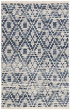 Ombre Diamond Blue Woven Cotton Rug