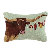 More about the 'Texas Long Horn with Ornaments Hooked Pillow by Peking - 50% OFF' product