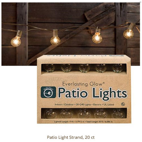 Patio Outdoor Electric Light Set 20 Ct American Country