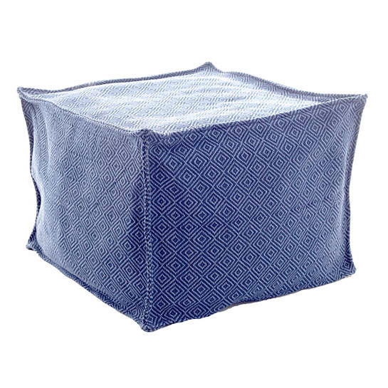 Petit Diamond Navy/Denim Indoor/Outdoor Pouf