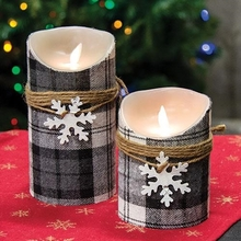 Plaid Black & White Candles