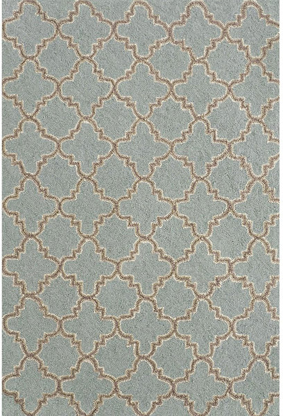 Plain Tin Slate Hooked Wool Rug