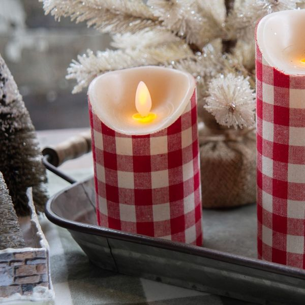 Red & White Check Flicker Pillar (set of 2)