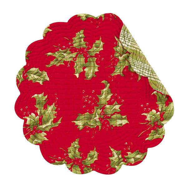 Holly Red Round Placemats/SET of 4