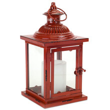 "Industrial Red Lantern 6""SQ x 13""H Metal/Glass"