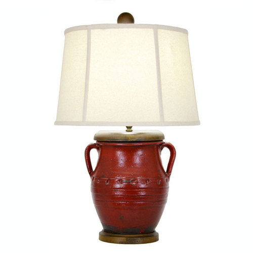 French Country Red Pottery Lamp