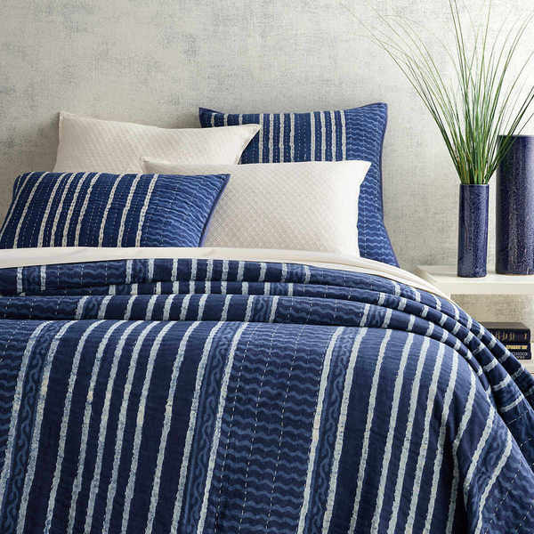 Coverlet-Resist Stripe Indigo