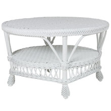 White round wicker coffee table