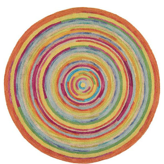 Concentric Squares Multi Tufted Wool Rug - ROUND