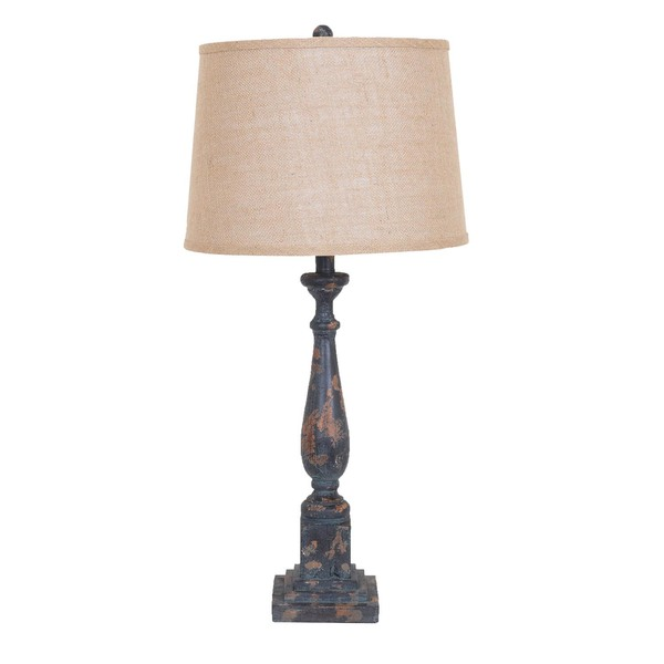 Gallo  Rustic Black Table Lamp with Burlap Shade