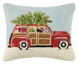Station Wagon with Black Lab Hooked Pillow