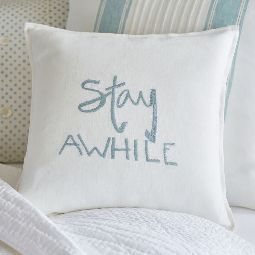 Embroidered in an Aqua or Black thread on soft, light cream linen. Filled with a 100% white goose feather and down insert.