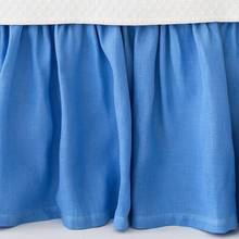 Stone Washed Linen Bedskirts French Blue