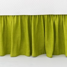 Stone Washed Linen Green Bedskirt