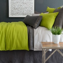 Stone Washed Linen Green Duvet