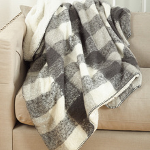 Grey Buffalo Check Sherpa Throw