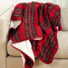 Red Plaid Sherpa Throw
