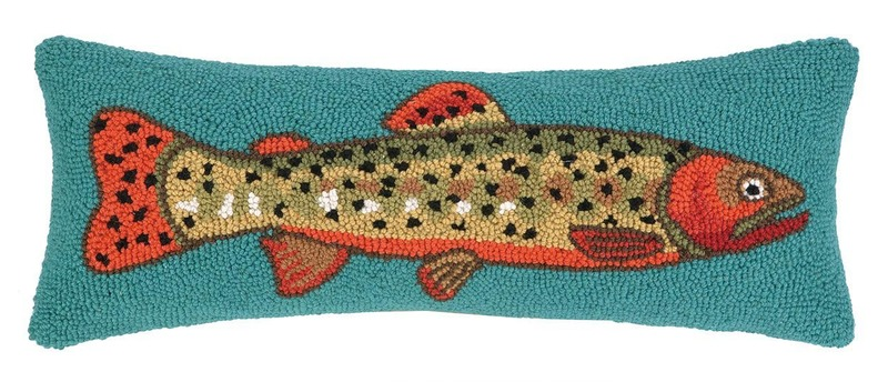 Trout Facing Right Hooked Pillow by Peking