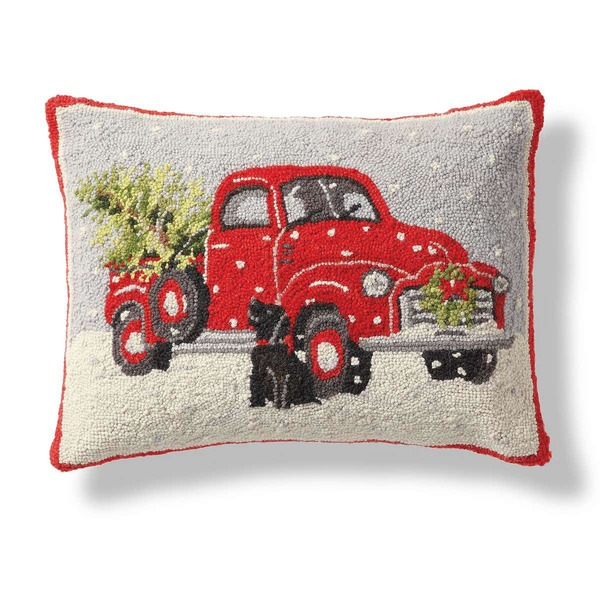Christmas Truck Hooked Pillow by Peking