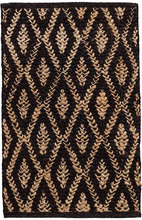 Two Tone Diamond Black/Natural Woven Jute Rug