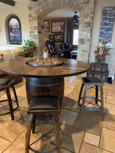 Wine Barrel Table Set W 4 Stools