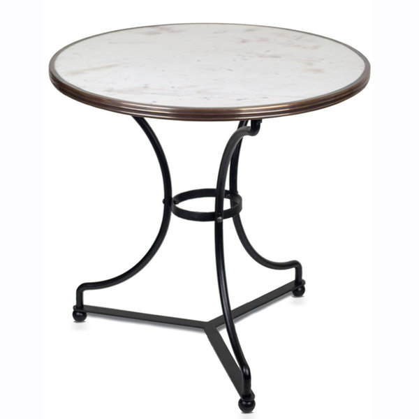 "28"" Marble Table with iron base"
