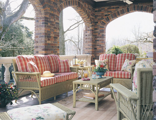 Beautiful wicker furniture sets a relaxing outdoor scene