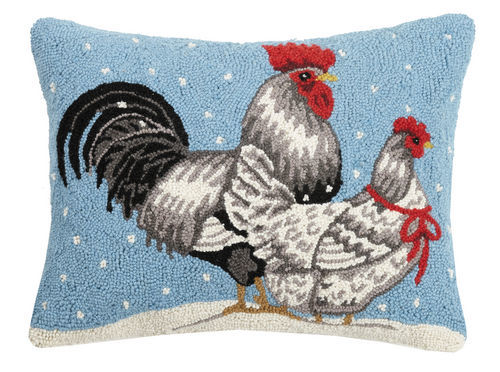 Winter Chickens Hooked Pillow