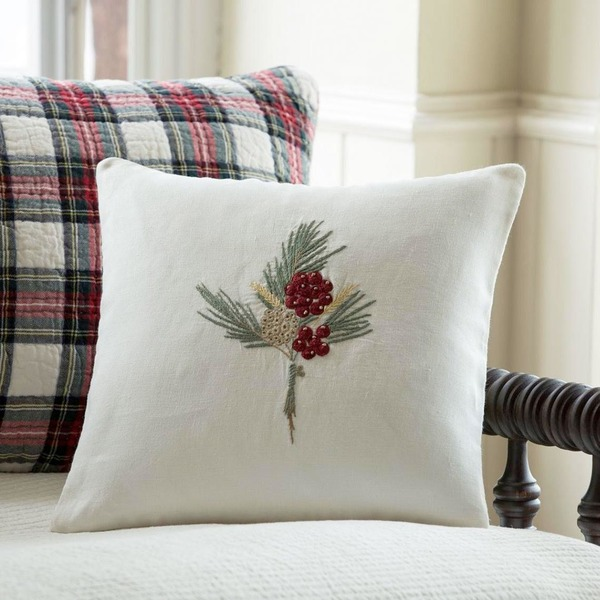 Winterberry Embroidered Pillow by Taylor Linens
