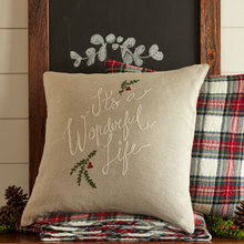 Wonderful Life Natural Embroidered Pillow