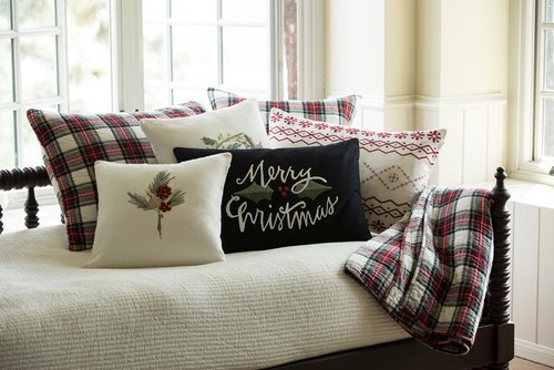 Merry Christmas Embroidered Pillow By Taylor Linens American Country