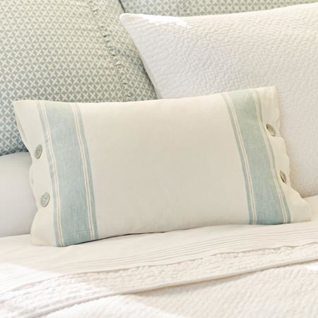 Aqua stripe linen pillow