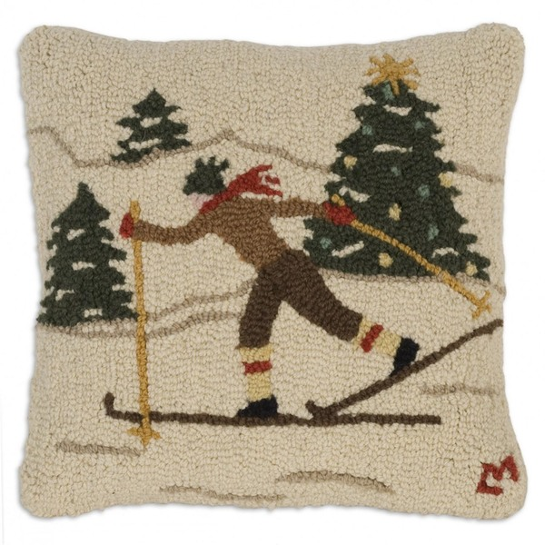 Cross Country Skier Hooked Pillow by Chandler 4 Corners