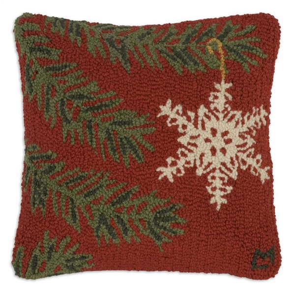 Ornament Flake Hooked Pillow by Chandler 4 Corners