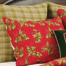 Holly Red Quilted Sham and Holly Plaid Euro Sham