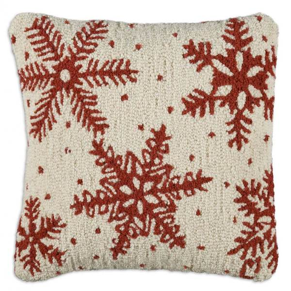 Icy Snowflakes Hooked Pillow by Chandler 4 Corners