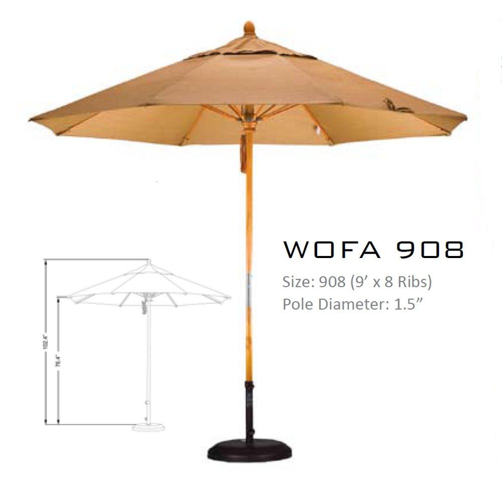 9u0027 Wood Pole Fiberglass Ribs Patio Umbrella
