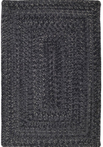 Solid Black Ultra Durable Braided Rug