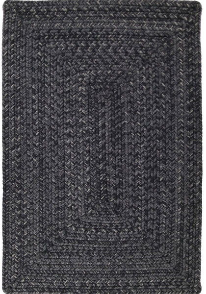 Solid Black Outdoor Braided Rug