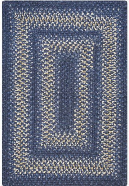 Blueberry Blue Wool Braided Rug