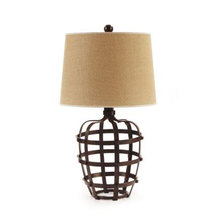 Industrial Strap Lamp with Jute Shade