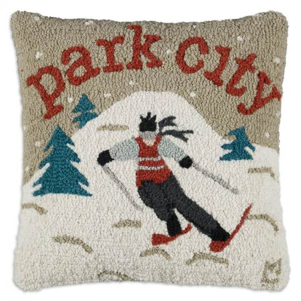 Park City Skier Hooked Pillow by Chandler 4 Corners