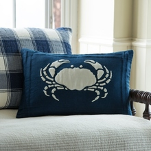 Indigo Linen Crab pillow