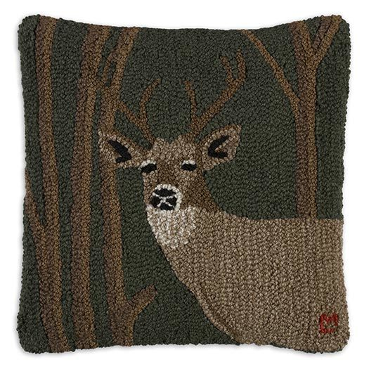 Woodland Deer Hooked Pillow by Chandler 4 Corners