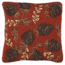More about the 'Ruby Pinecones Hooked Pillow by Chandler 4 Corners' product