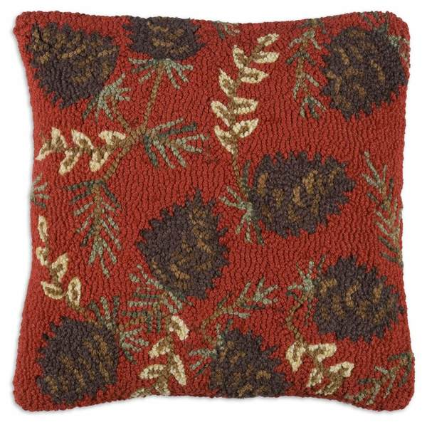 Ruby Pinecones Hooked Pillow by Chandler 4 Corners