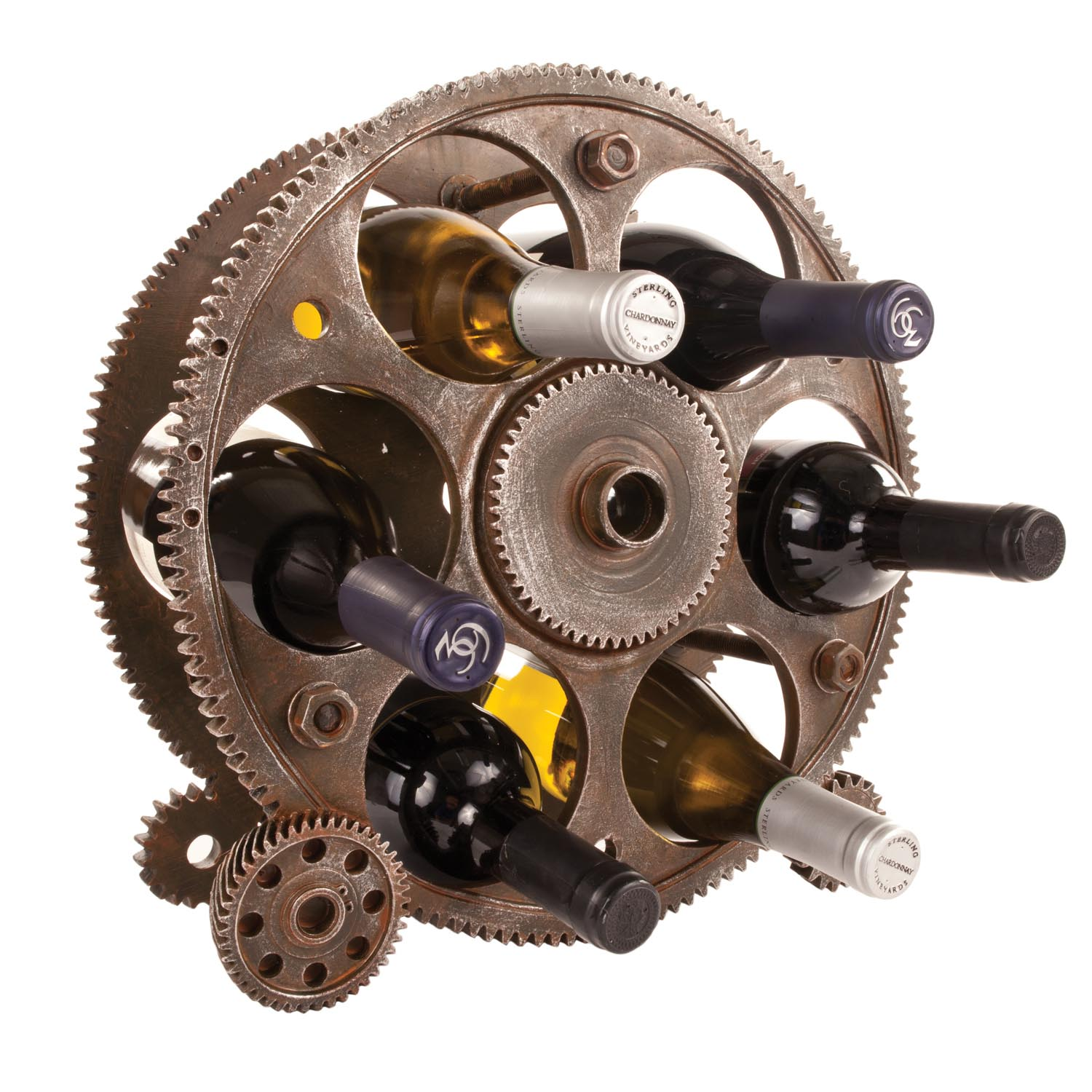 Reversible reclaimed wine barrel Bar Gears And Wheels Wine Bottle Rack Etsy Wine Racks At American Country Home Store American Country