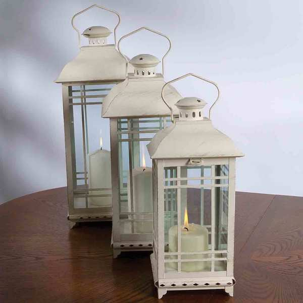 Rustic White Lanterns - Set of 3